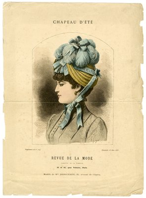 Summer Hat, Fashion plate from Revue des Modes, June 28, 1885
