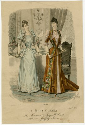Two women in dinner gowns in a dining room