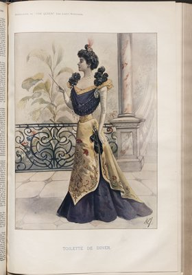 Toilette du Diner, Fashion plate from The Queen, November 5, 1898