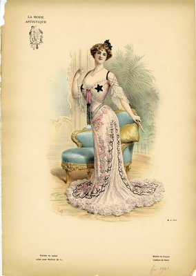 Toilette de Soiree, Fashion plate from La Mode Artistique