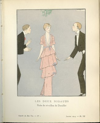 Deux Nigauds, Fashion plate from Gazette du Bon Ton, January 1914