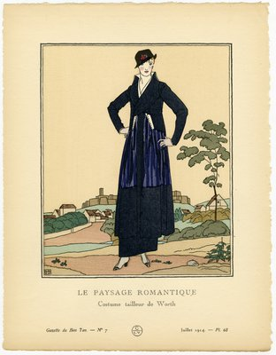 Paysage Romantique, Fashion plate from Gazette du Bon Ton, July 1914