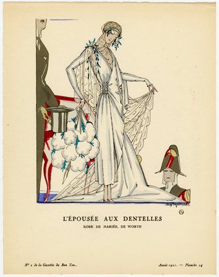 Esposee aux Dentelles, Fashion plate from Gazette du Bon Ton, 1921