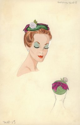 Halston green and violet hat