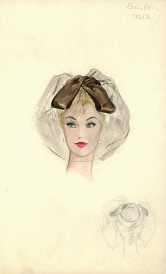 Halston brown hat with veil
