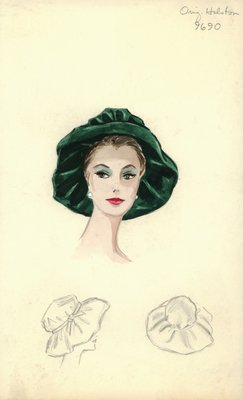 Halston green slouch hat