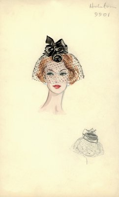 Halston black doll hat