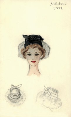 Halston black pillbox hat with veil