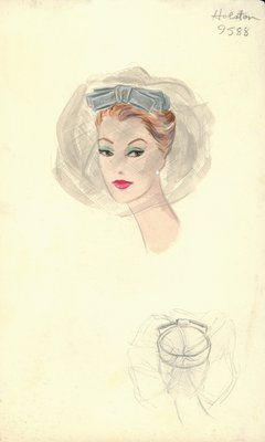 Halston gray pillbox with veil