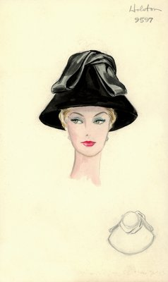 Halston black coolie hat