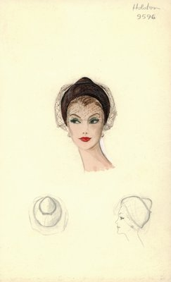Halston brown casque with veil