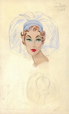 Halston blue pillbox with veil