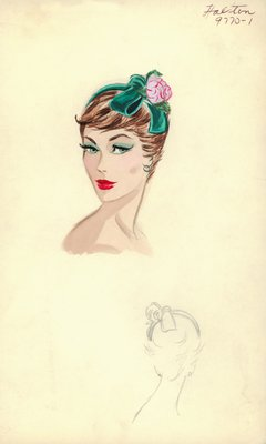 Halston green hat with rose