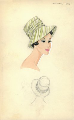 Halston striped brimmed hat