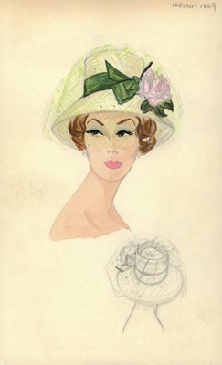 Halston straw hat with veil