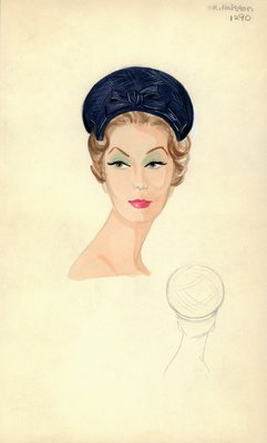 Halston blue straw hat