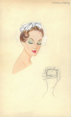 Halston white pillbox with veil