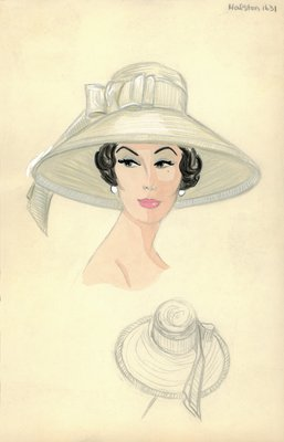 Halston wide straw hat