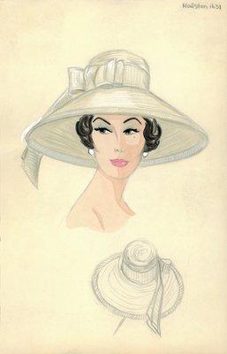Halston wide straw hat