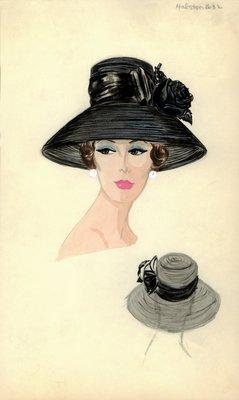 Halston black straw hat with rose