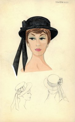 Halston black straw sailor hat