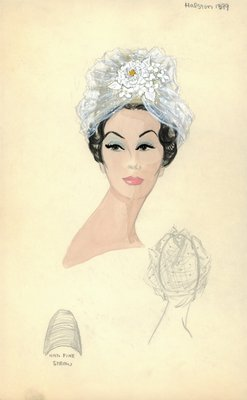 Halston straw beehive with veil
