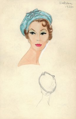 Halston blue tweed beret
