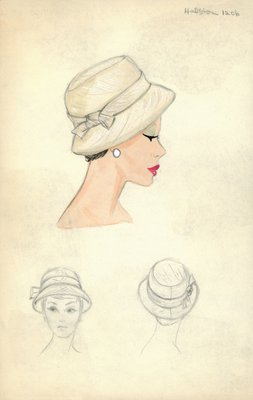 Halston beige hat with bow