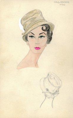 Halston beige tweed hat