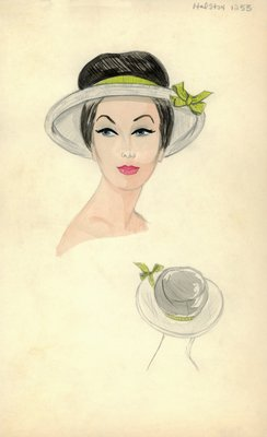 Halston hat with green bow
