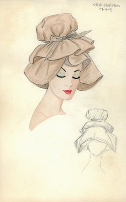 Halston beige double-brimmed hat
