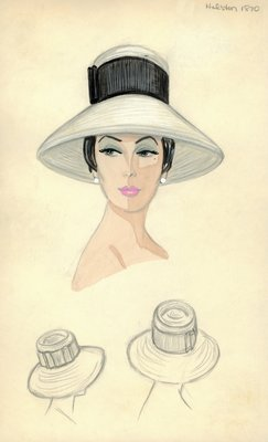 Halston white straw hat