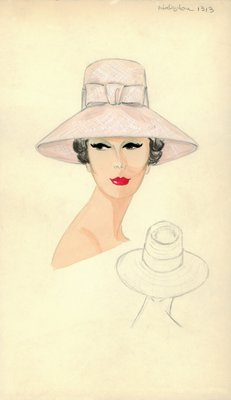 Halston pink straw hat with bow