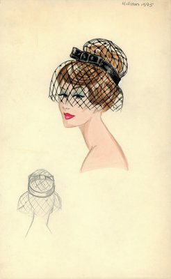 Halston black hat with veil