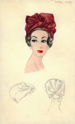 Halston red fabric turban