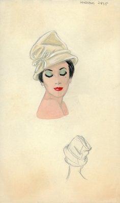 Halston beige hat with bow