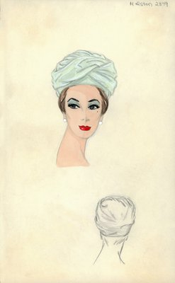 Halston blue turban
