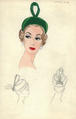Halston green pillbox hat