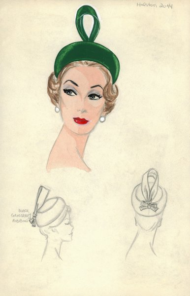 Halston green pillbox hat