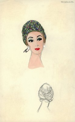 Halston fabric turban with bow