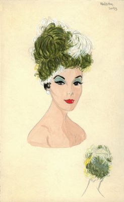 Halston green toque with feathers