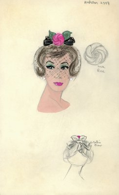 Halston black hat with pink rose