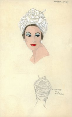 Halston white turban with rose