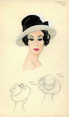Halston black velvet and white straw hat