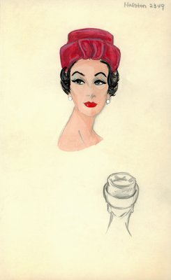 Halston red roller hat