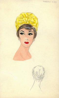 Halston chartreuse turban