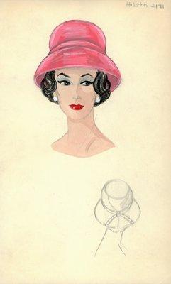 Halston coral hat