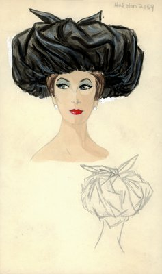 Halston black hat with bow