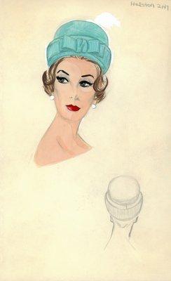 Halston blue roller hat