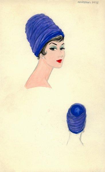 Halston Blue Tulle Toque